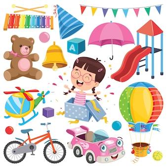 Collezione di giocattoli colorati e oggetti