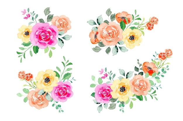 Collezione di bouquet di fiori colorati ad acquerello
