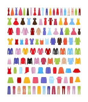 Collezione di abbigliamento femminile colorato in stile piatto.