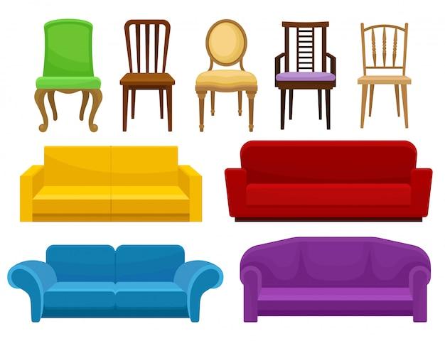 Collezione di comodi set di mobili, sedie e divani, elementi per interni illustrazione su uno sfondo bianco