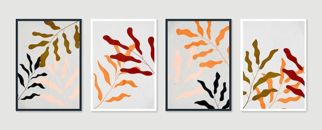 Collezione di manifesti d'arte contemporanea in colori pastello. insieme di vettore di arte della parete botanica. arte della parete minimal e naturale.