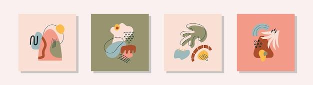 Collezione di poster artistici contemporanei con forme e linee organiche tropicali