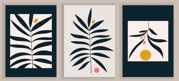 Collezione di manifesti d'arte contemporanea monocromatica. elementi geometrici astratti e tratti, foglie e bacche. eleganti manifesti in bianco e nero. ottimo design per social media, cartoline, stampa.