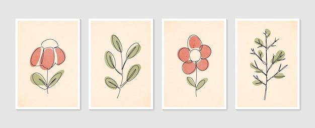 Collezione di poster di arte contemporanea su una linea. set di arte della parete botanica. arte della parete minimal e naturale.