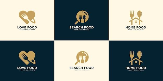 Raccolta di loghi creativi per la ricerca di cibo, ordini di cibo e piatti pronti