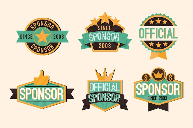 Raccolta di etichette di sponsorizzazione creative