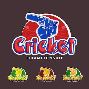 Raccolta di carattere campionato di cricket con battitore giocatore in stile adesivo su sfondo marrone.