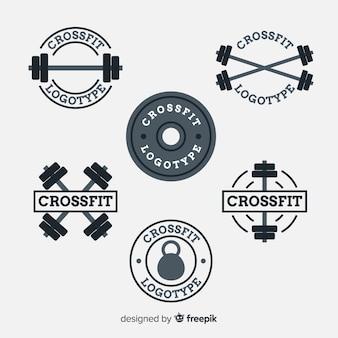 Collezione di stile piatto logo crossfit