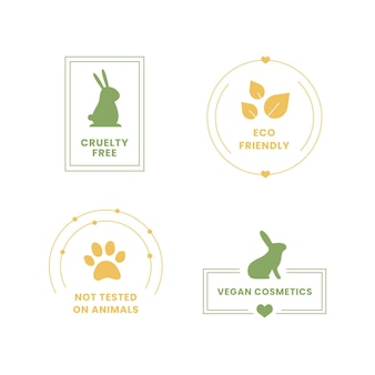 Raccolta di badge cruelty free illustrati