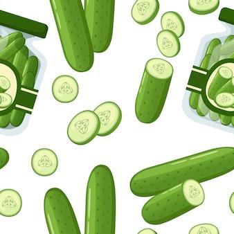 Raccolta di prodotti di cetriolo e piatti illustrazione piatta