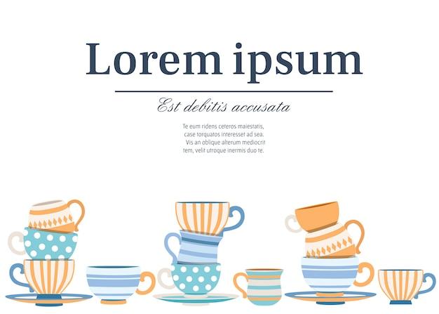 Tazze di raccolta con motivi carini. stile cartoon set da tè. pila di tazze colorate. illustrazione vettoriale su sfondo bianco. posto per il testo