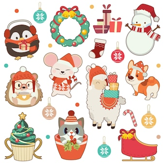 La collezione di simpatici animali a tema natalizio è ambientata in bianco. il simpatico pinguino e riccio e topo e alpaca amd corgi cane e simpatico gatto e pupazzo di neve. l'animale carino in stile piatto