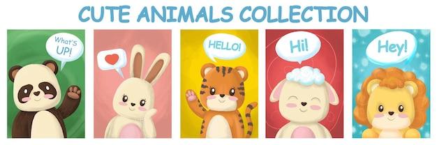 Collezione di simpatici animali, personaggi disegnati a mano