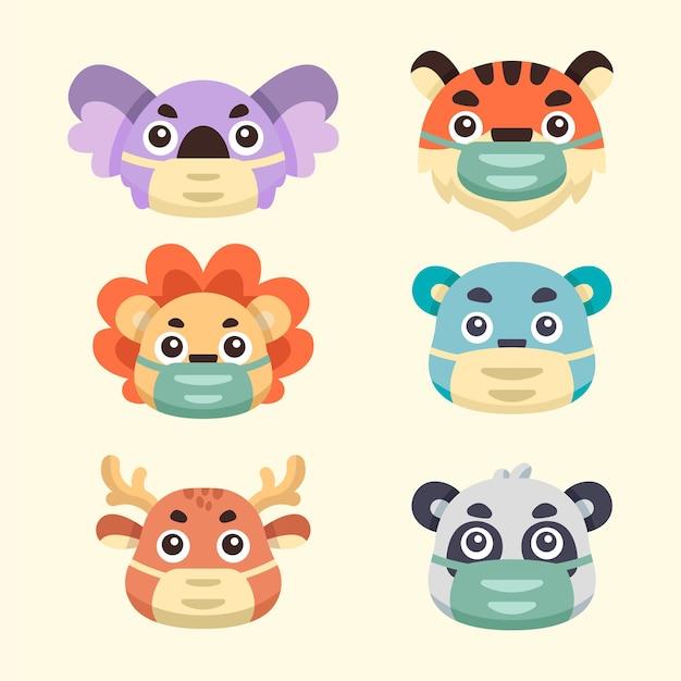 Raccolta illustrazioni di simpatici animali usano maschere