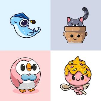 Collezione di simpatici animali per adesivi logo personaggio e illusione