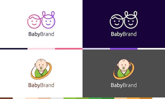 Collezione di cute baby logo vector