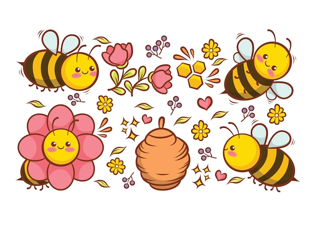 Raccolta di api carine con fiori miele e cartone animato alveare