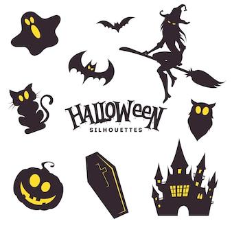 Raccolta di sagome nere di halloween carino
