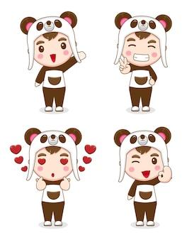 Collezione di ragazzi carini che indossano costumi da panda con espressioni diverse
