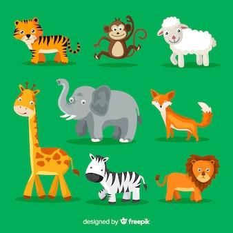 Collezione di simpatici animali dei cartoni animati