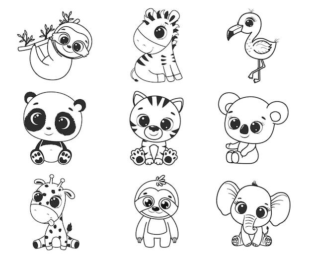 Una collezione di simpatici animali esotici dei cartoni animati. illustrazione vettoriale in bianco e nero per un libro da colorare. disegno di contorno.