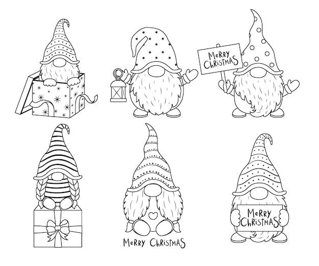 Una collezione di gnomi simpatici cartoni animati. illustrazione vettoriale in bianco e nero per un libro da colorare. disegno di contorno.