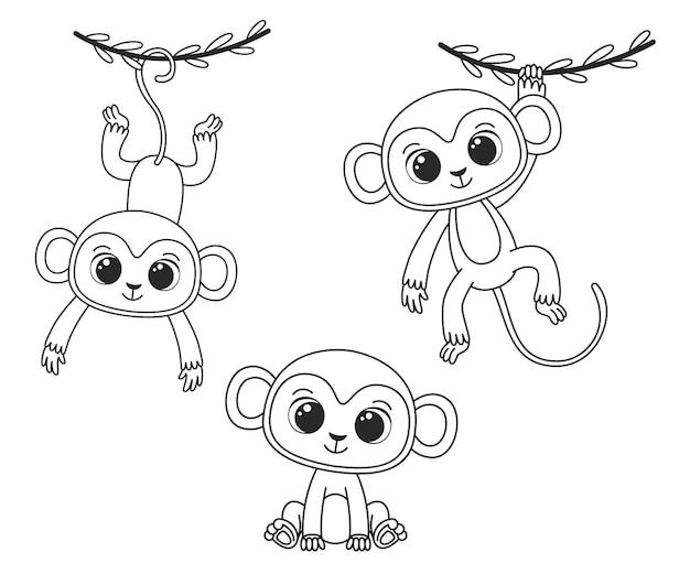 Una collezione di simpatiche scimmie dei cartoni animati. illustrazione vettoriale in bianco e nero per un libro da colorare. disegno di contorno.