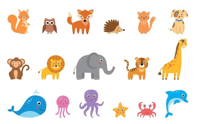 Raccolta di simpatici animali vettoriali dei cartoni animati