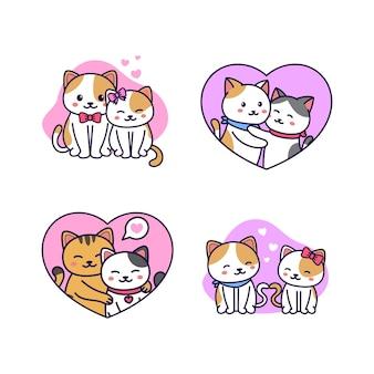 Raccolta di coppia di gatti carino