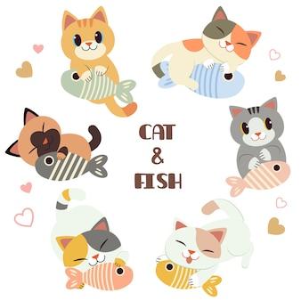 La collezione di simpatici gatti e amici con un pesce in stile piatto.