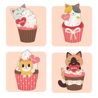 Collezione di simpatici gatti seduti in cupcake sul rosa