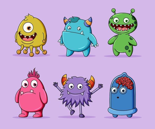 Collezione di simpatici mostri di personaggi