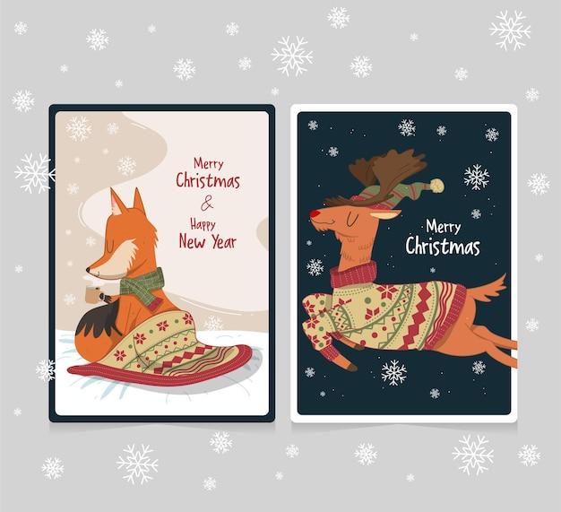 Collezione di cartoline di natale carine con cervi e volpi disegnati a mano