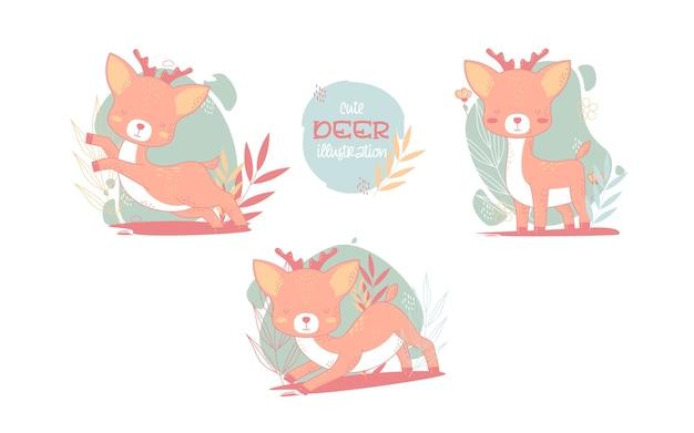 Collezione di simpatici cervi animali dei cartoni animati. illustrazione vettoriale.