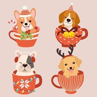 Collezione di simpatico cane seduto in una tazza tazza