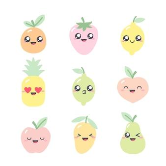Raccolta di simpatici disegni con personaggi di frutta in colori pastello. insieme delle illustrazioni di kawaii con frutta-mela; ananas; lime; limone; pompelmo; mango, pera, fragola e pesca