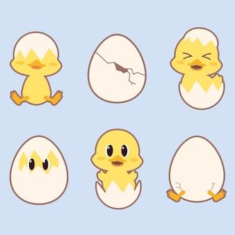 La collezione di anatra carina in molte azioni con le uova sullo sfondo blu. il personaggio di anatra carina gioca con l'uovo.