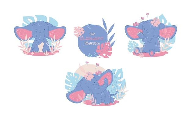 Collezione di simpatici elefanti animali dei cartoni animati. illustrazione vettoriale.