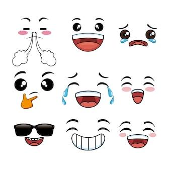 Collezione di faccia di cute cartoon emoji