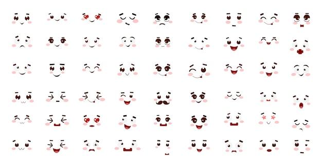Raccolta di emoticon carine con diverse emozioni