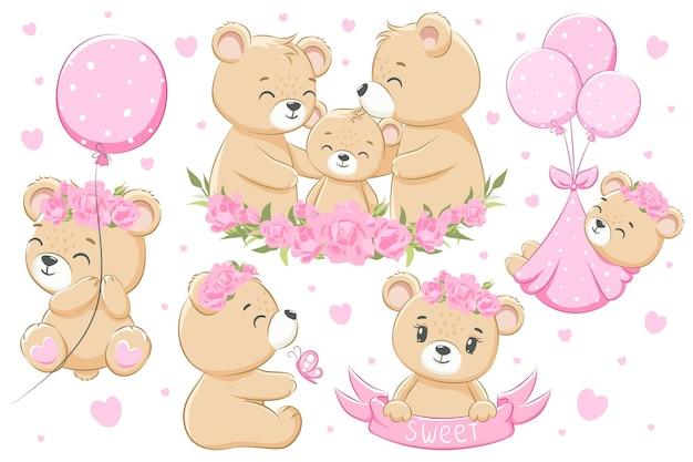 Una collezione di simpatiche famiglie di orsi, per ragazze. fiori, palloncini e cuori. fumetto illustrazione vettoriale.