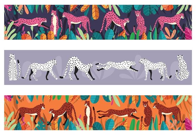 Collezione di simpatici ghepardi disegnati a mano su sfondo orizzontale, in piedi, allungando, correndo e camminando con piante esotiche. illustrazione piatta