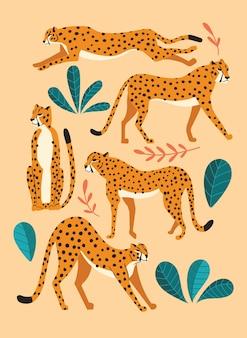 Collezione di simpatici ghepardi disegnati a mano, in piedi, allungando, correndo e camminando con piante esotiche. illustrazione piatta
