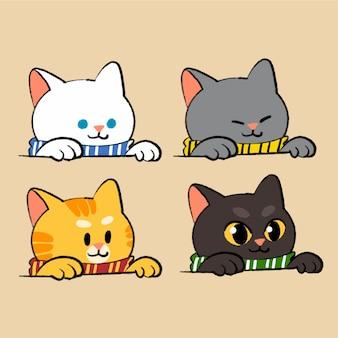 Collezione di simpatici gattini mascotte doodle illustrazione asset