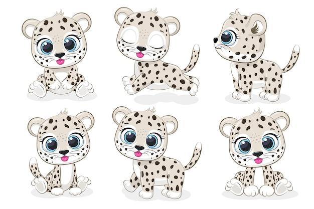 Una collezione di simpatici leopardi. grafica vettoriale dei cartoni animati.