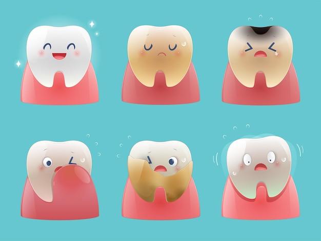 Raccolta di piccoli denti carini. problemi dentali di salute totale, illustrazione