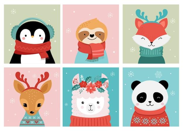 Collezione di simpatici buon natale di panda, volpe, lama, bradipo, gatto e cane