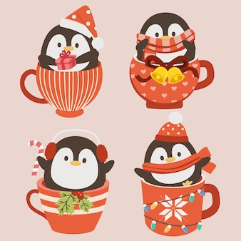 La collezione di simpatici pinguini nella tazza di natale in stile piatto.