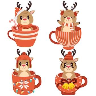 La collezione di simpatiche renne in tazza