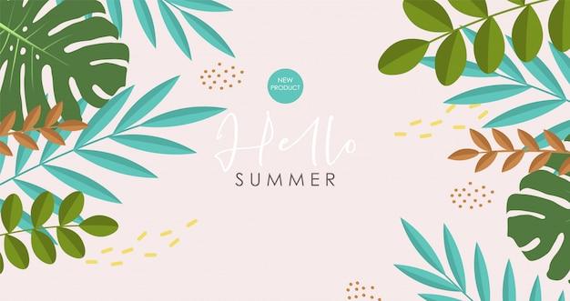 Raccolta di elementi estivi carini, banner tropicale, forme astratte, oggetti di foglie tropicali, carta stagione estiva, scheda grafica di vendita